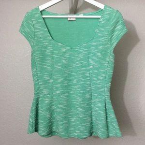 Anthro 9-Hi5 STCL postmark peplum shirt in S